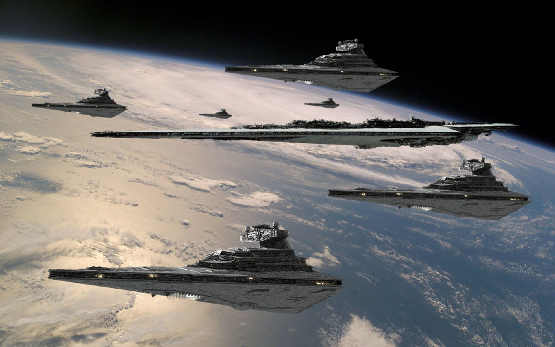 Imperial Star Destroyer Fleet with The Executor Super Star Destroyer over  planet