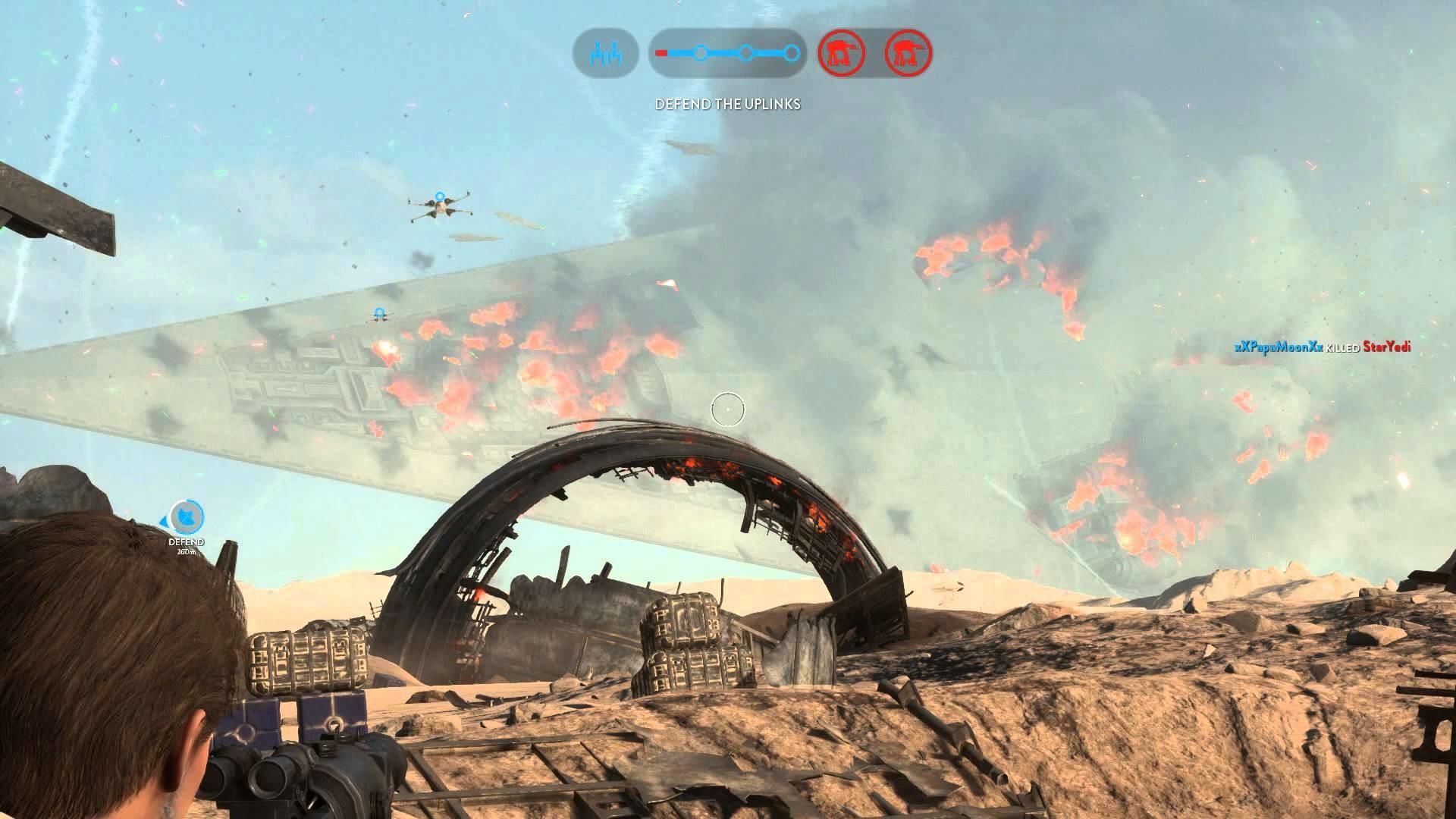 Crashing Super Star Destroyer (Battlefront)