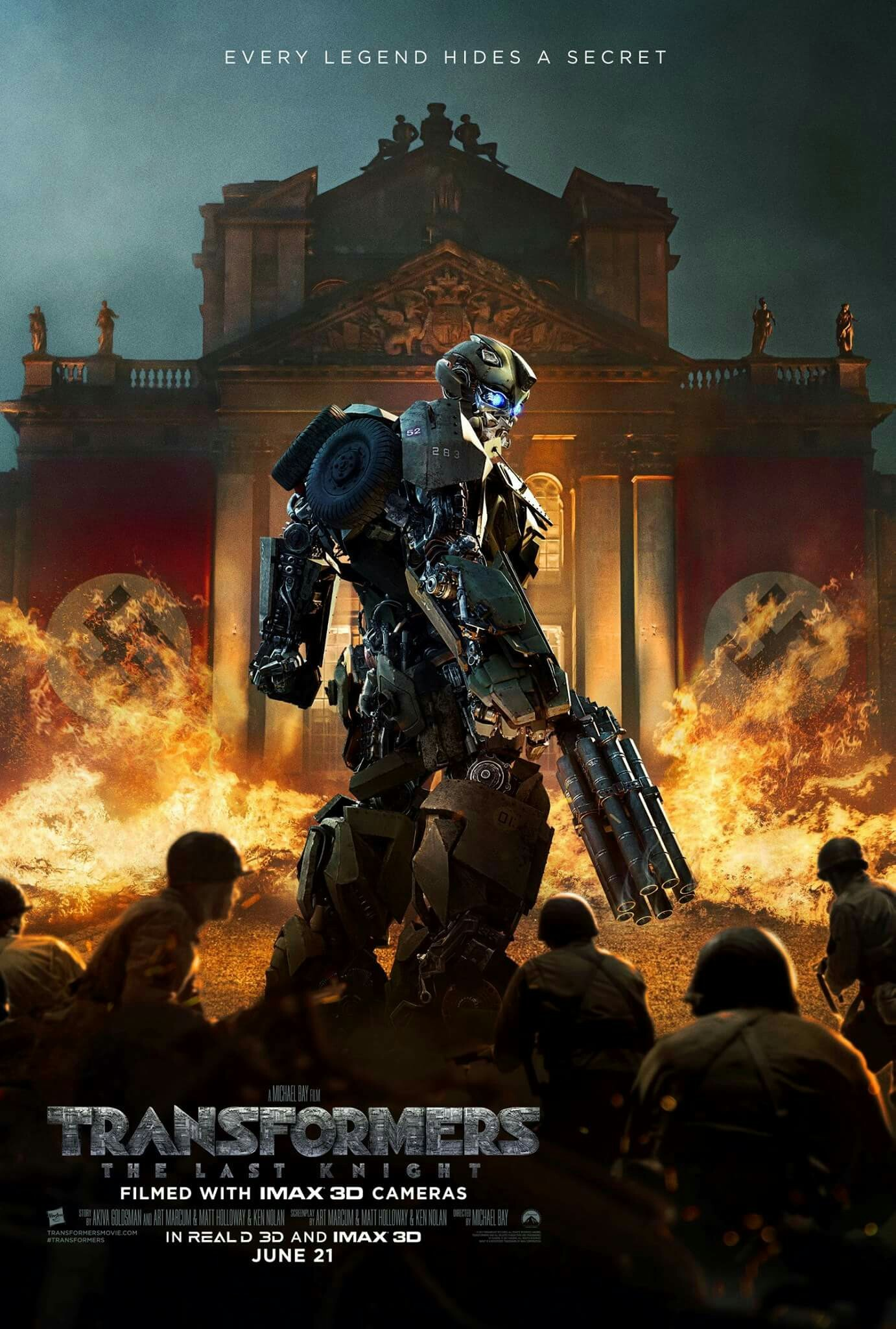 "Beautiful Transformers The Last Knight movie poster. Tagline: ""Every legend  hides a secret."