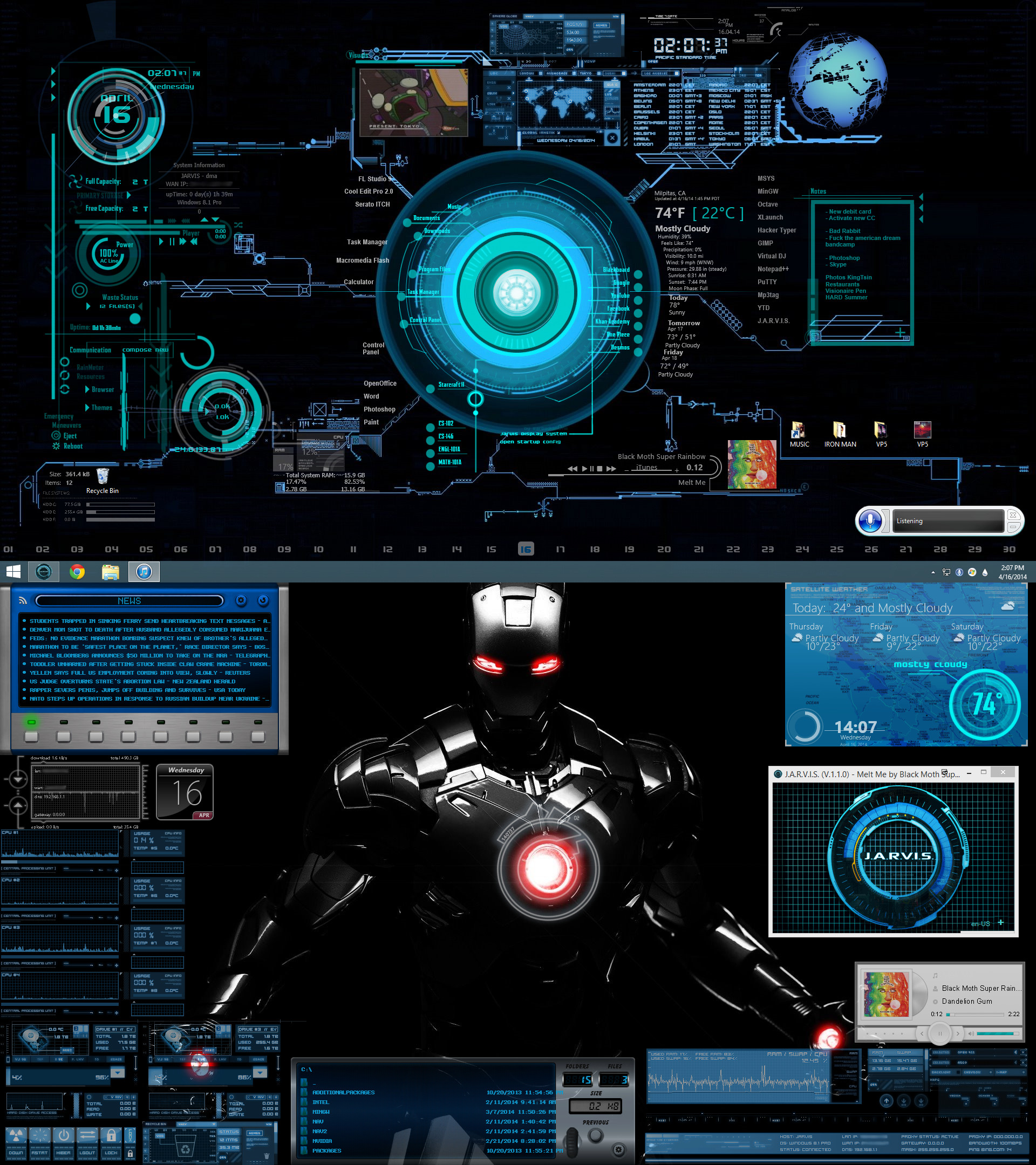 Second Screenshot: Desktop with just Rainmeter, iTunes, and J.A.R.V.I.S.  running.