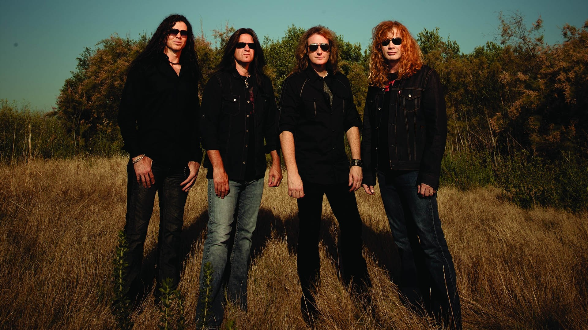Preview wallpaper megadeth, band, sunlight, glasses, shadow 1920×1080