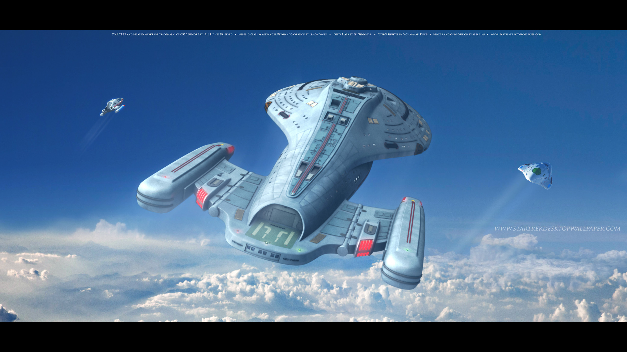 Star Trek Intrepid Class Starship USS Voyager Above The Clouds. Free Star  Trek computer desktop