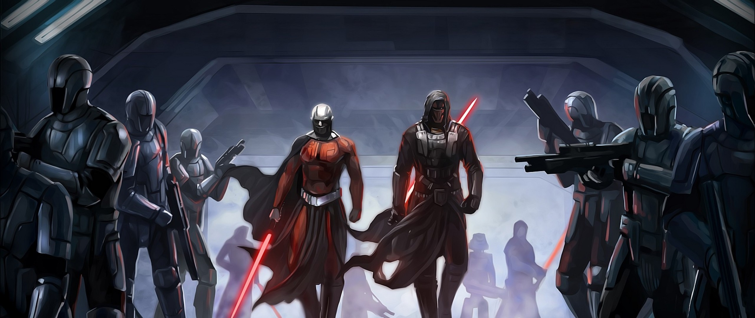 Preview wallpaper star wars the old republic, guard, characters,  lightsabers 2560×1080