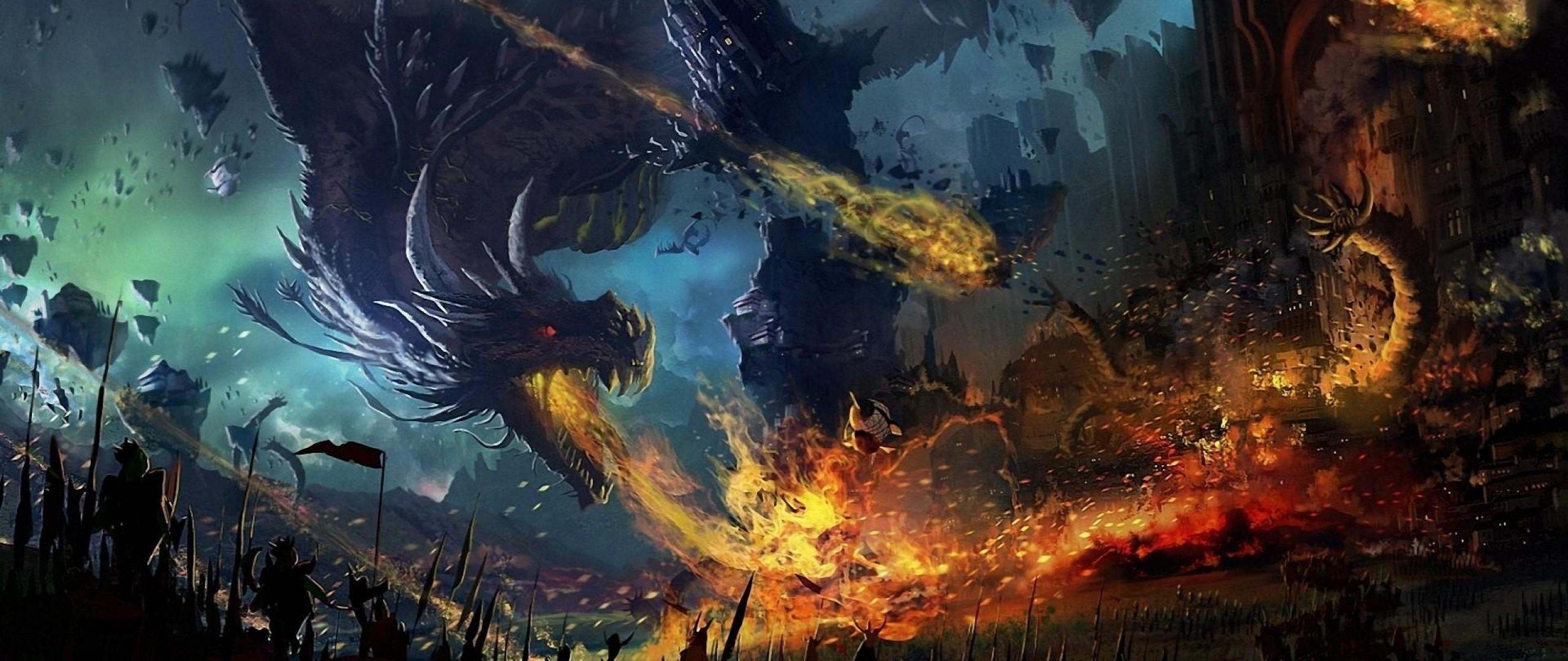 Preview wallpaper dragon, fall, fire, flame, war, battle 2560×1080