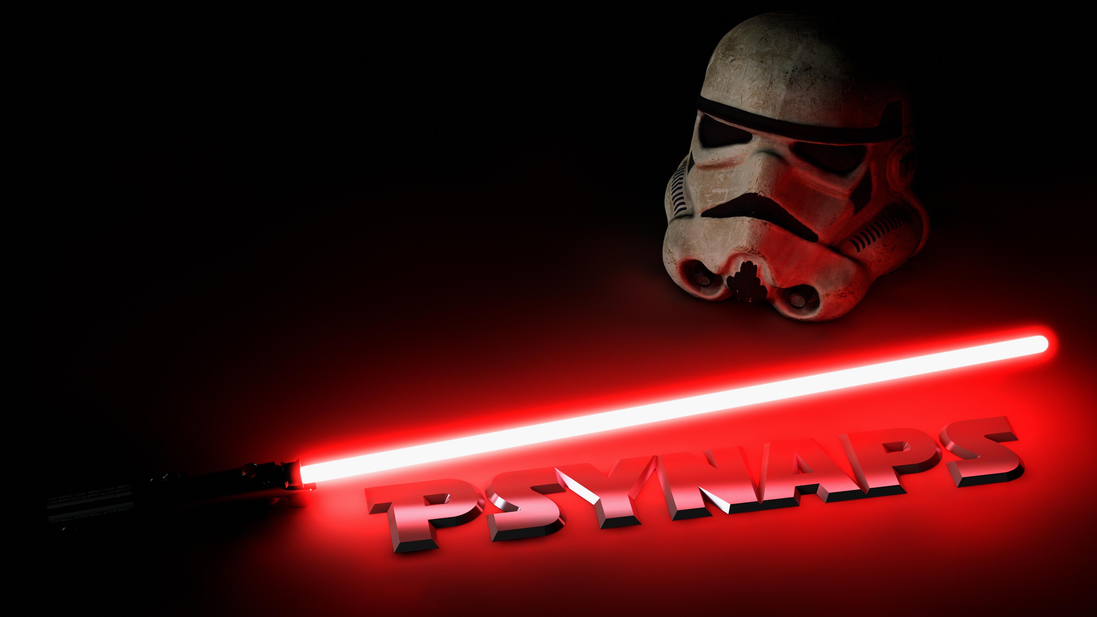 Star Wars Light Saber & Storm Trooper 4K Custom Wallpaper