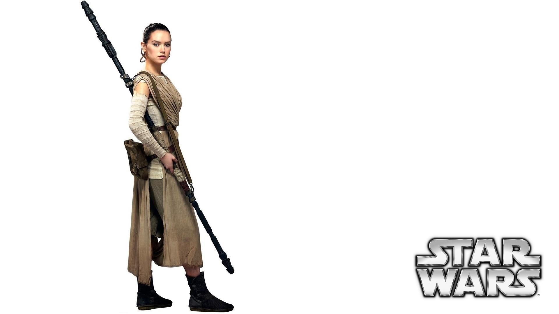 Star Wars – The Force Awakens: Daisy Ridley / Rey wallpaper white  (1080p)