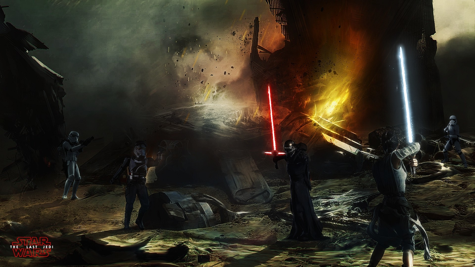 Kylo Ren, Stormtrooper, Star Wars: The Last Jedi, Star Wars: The Force  Awakens, Star Wars, Rey (from Star Wars), Lightsaber, Fan art Wallpapers HD  / Desktop …