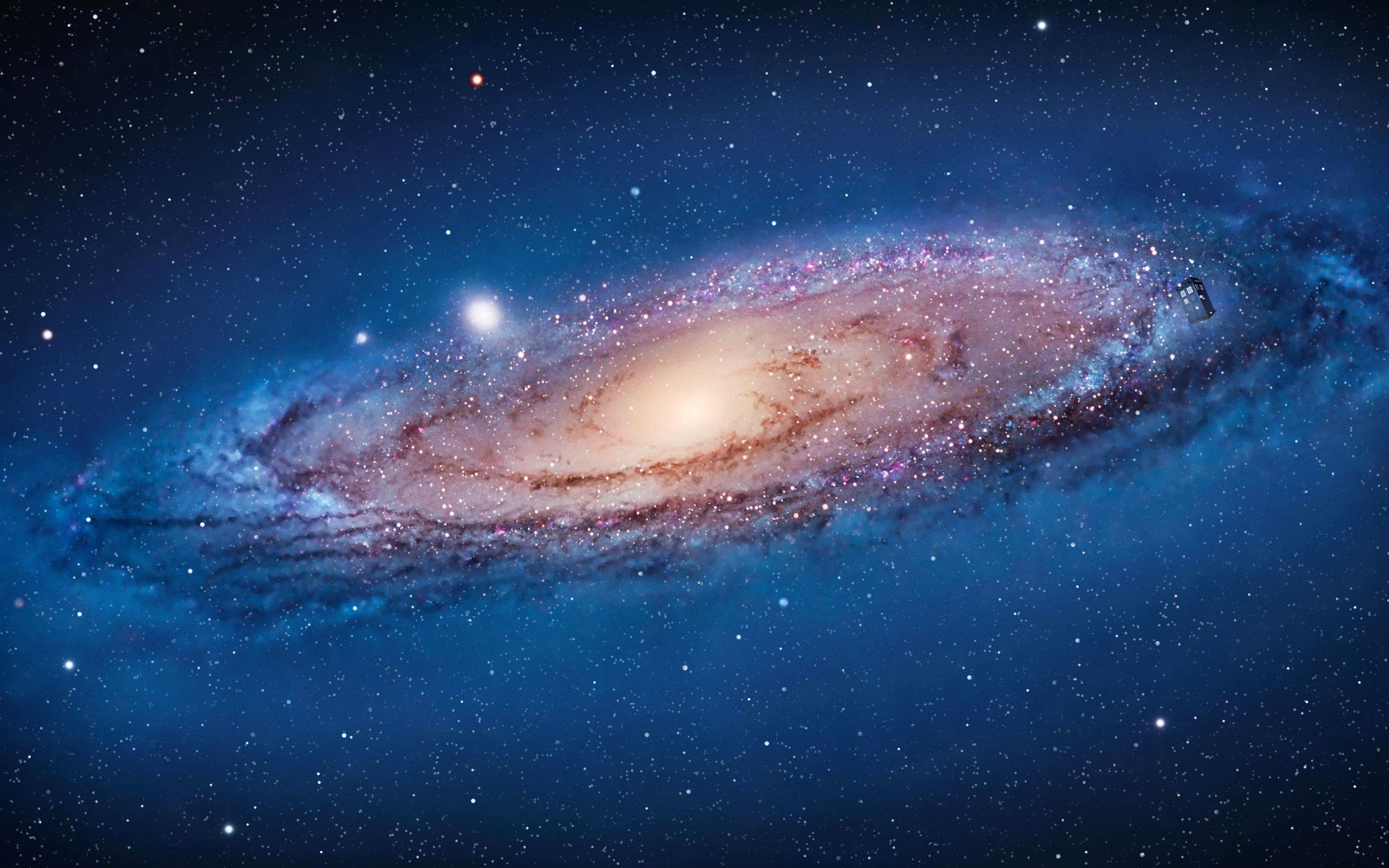 Wallpaper Andromeda Galaxy with a TARDIS …