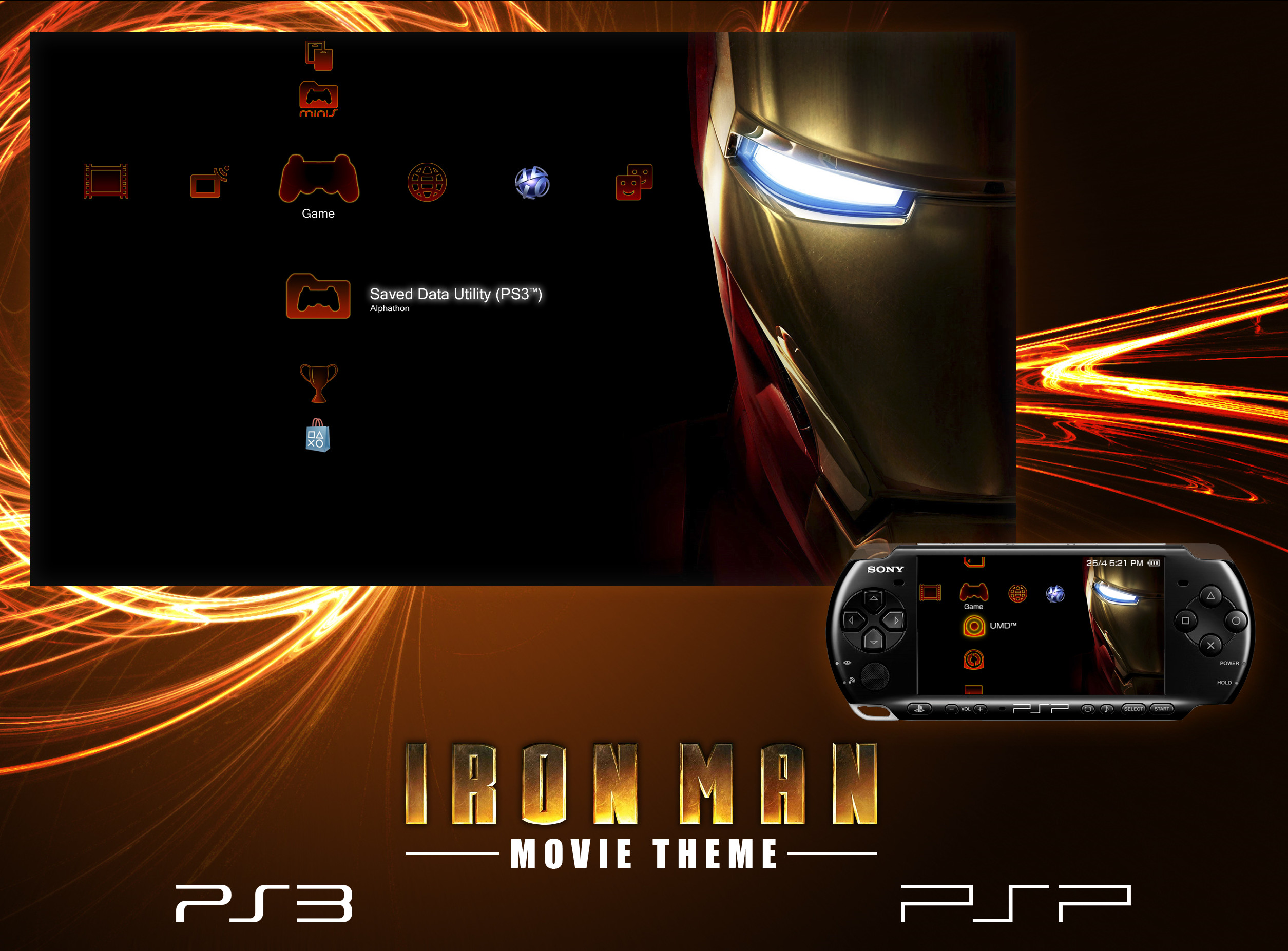 … Iron Man Theme for PS3 and PSP by Alphathon