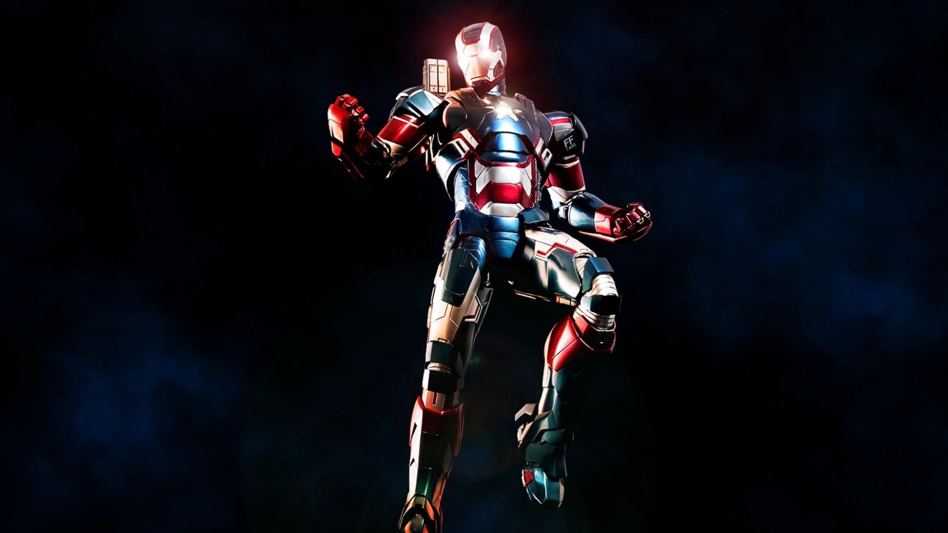 Preview wallpaper iron man, iron patriot, marvel comics 3840×2160