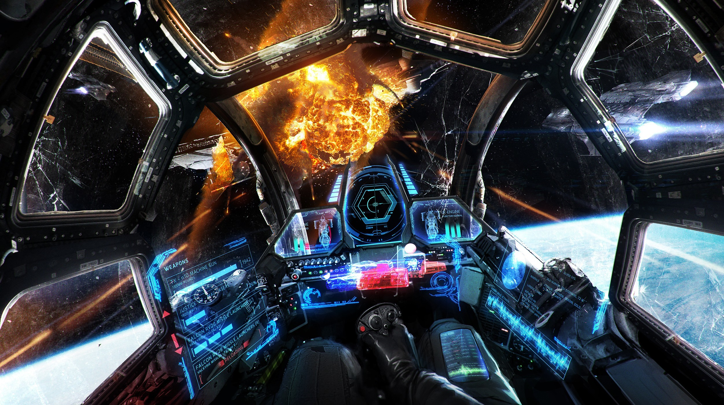 General artwork science fiction space spaceship HUD explosion  cockpit