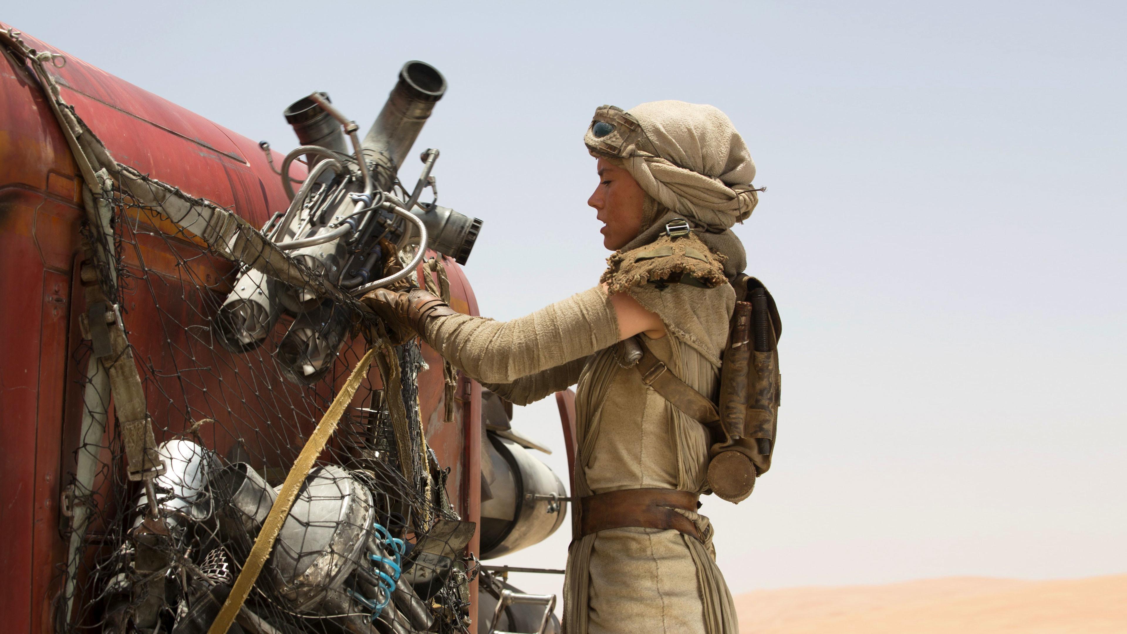 Rey with her Speeder – Star Wars 7: The Force Awakens wallpaper