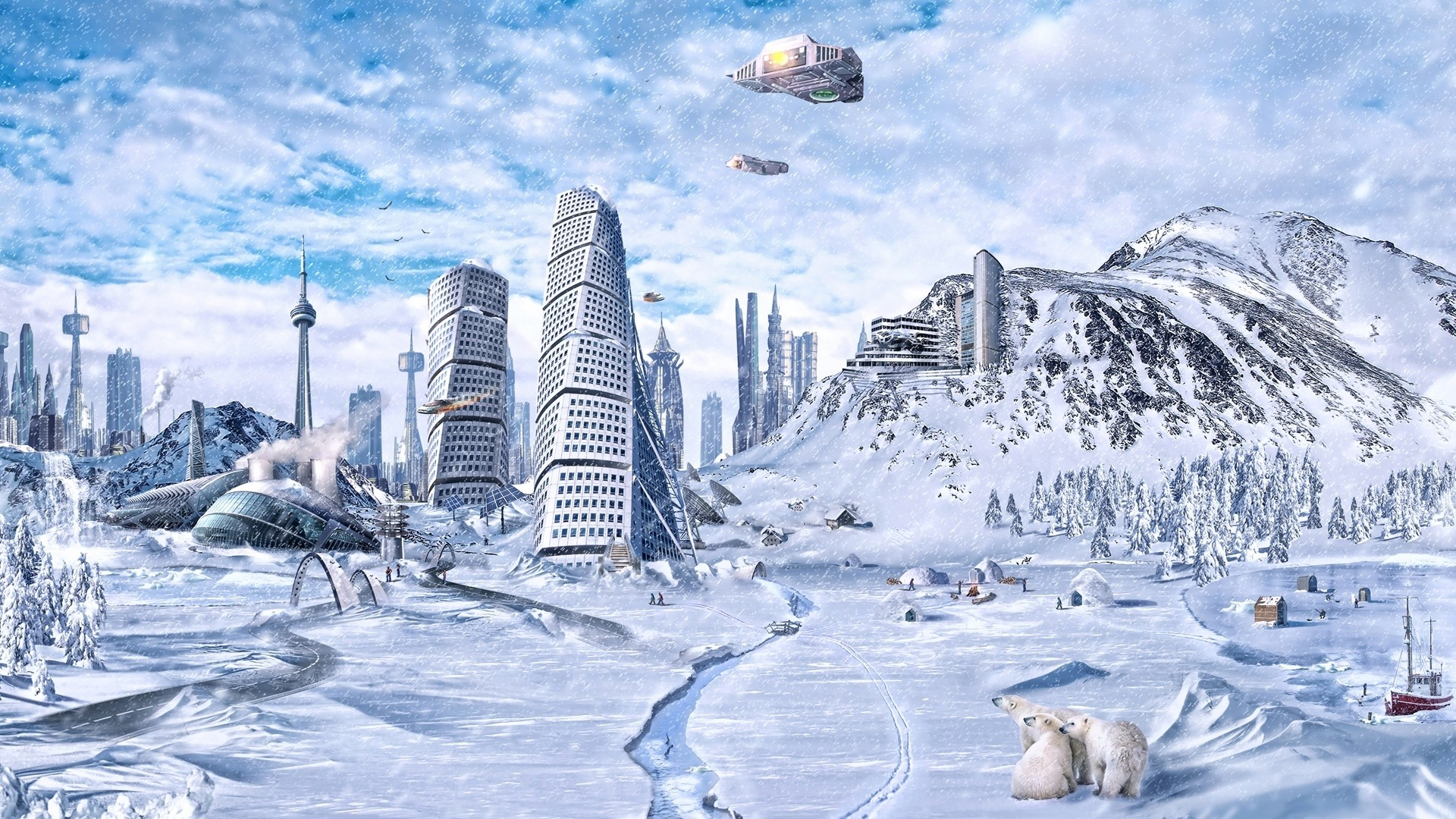 Preview wallpaper planet, world, winter, snow, city, science fiction, future