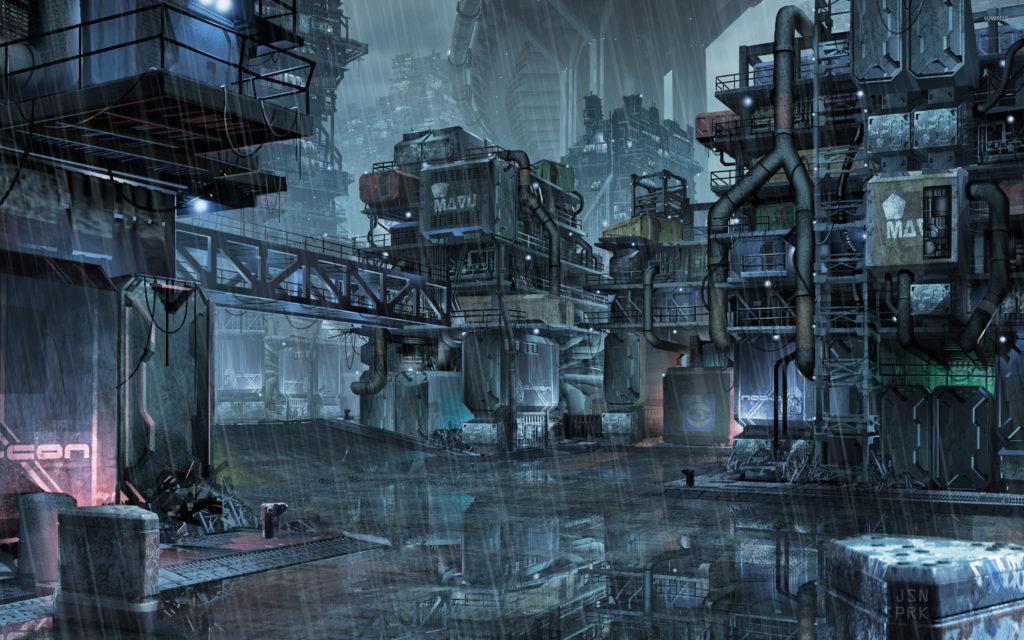 Cyberpunk slums of the future wallpaper jpg