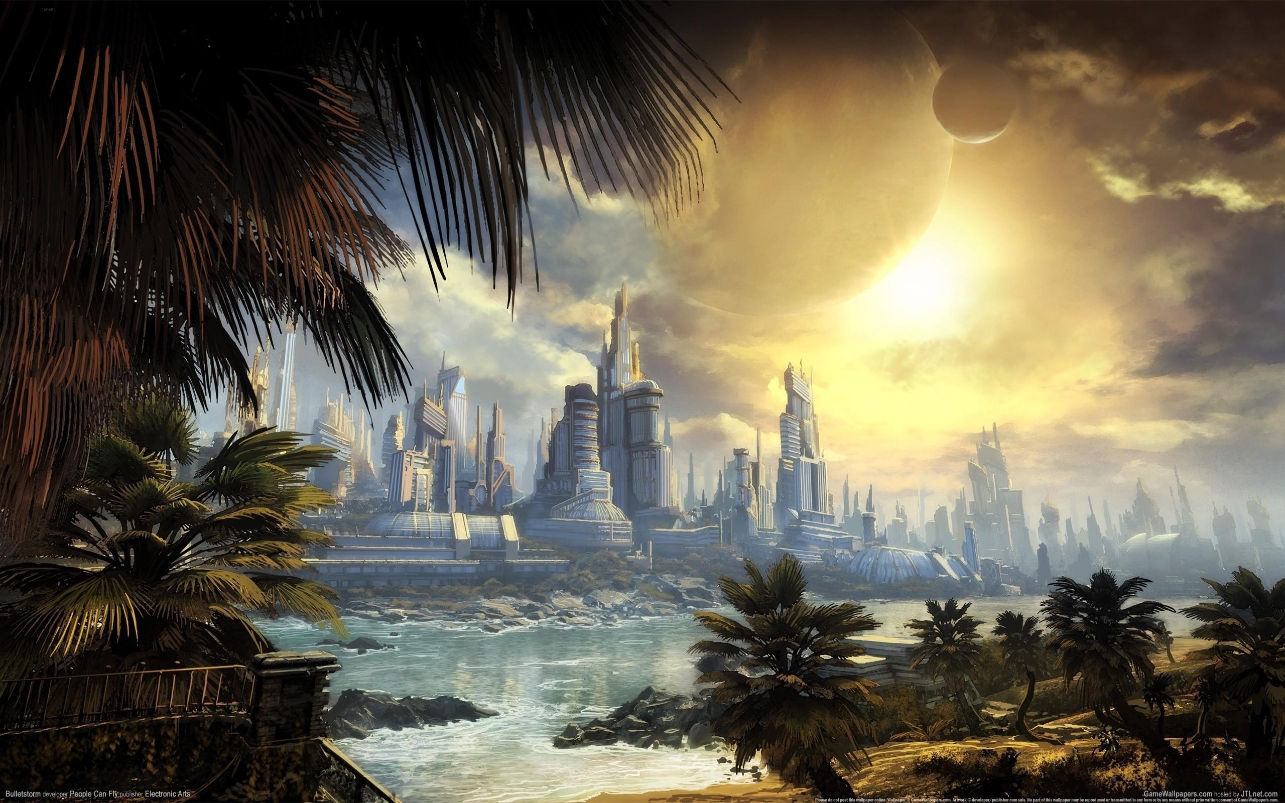 bulletstorm, art, future, city, river, palm, skyscraper