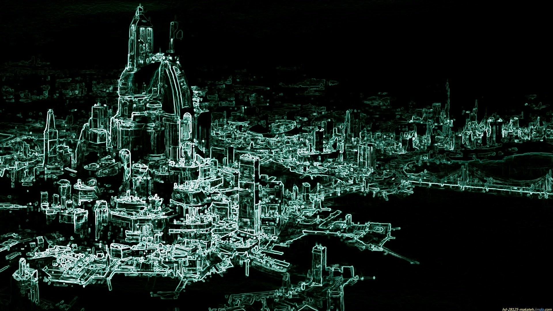 Abstrakt – Science fiction Abstrakt Stad Planet Space Bakgrund