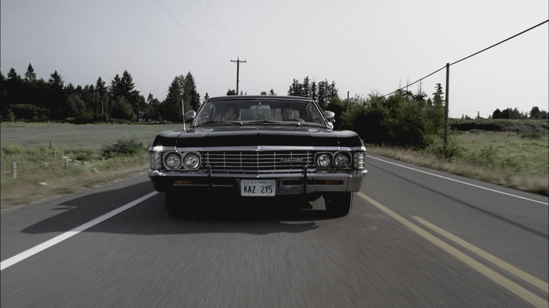 then the newly repaired Impala roars down the road!