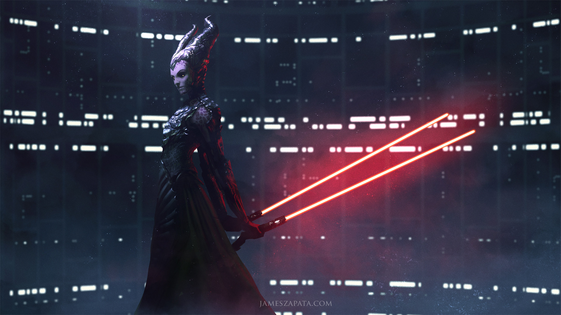 Darth Maleficent wallpaper. Maleficent Sith Lord red lightsabers, Star Wars