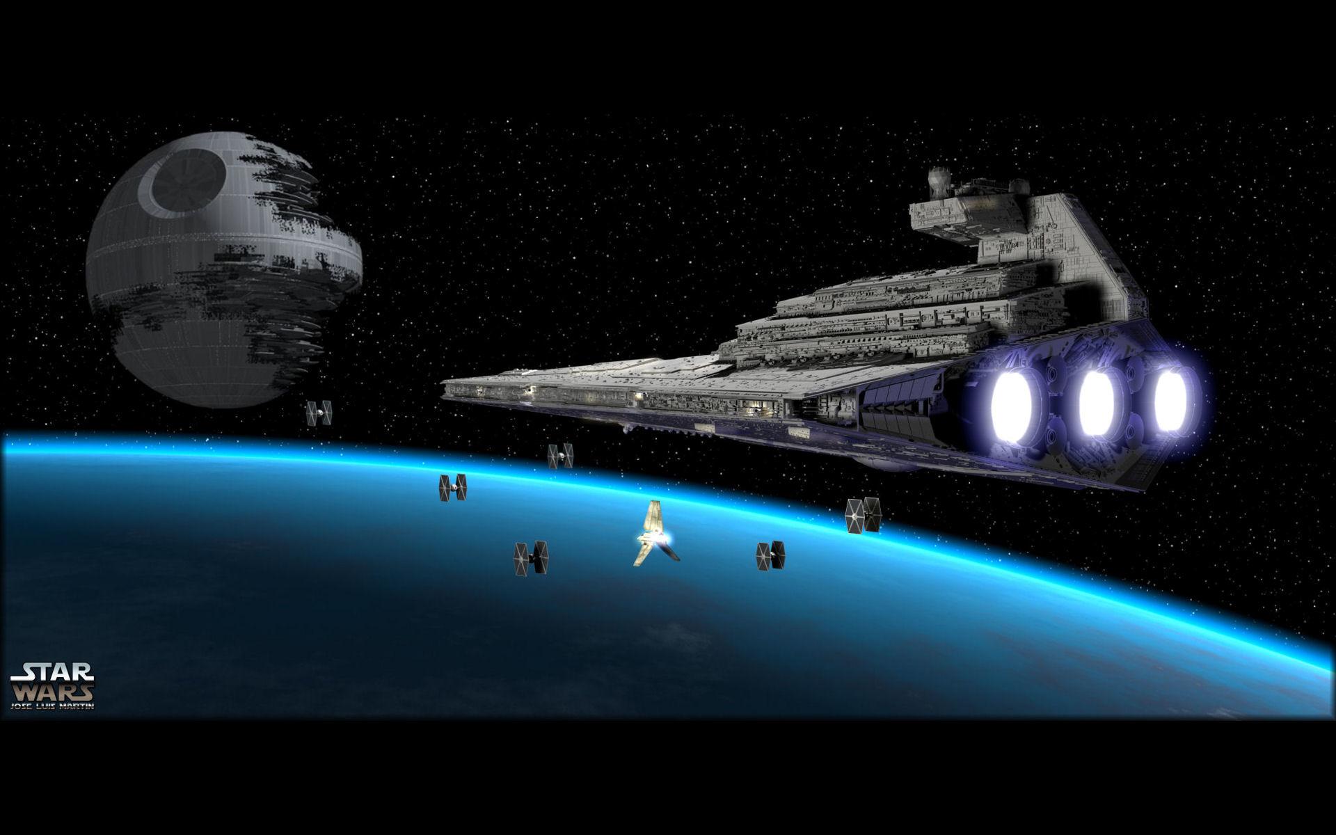 Sci Fi – Star Wars Death Star Star Destroyer TIE Fighter Wallpaper