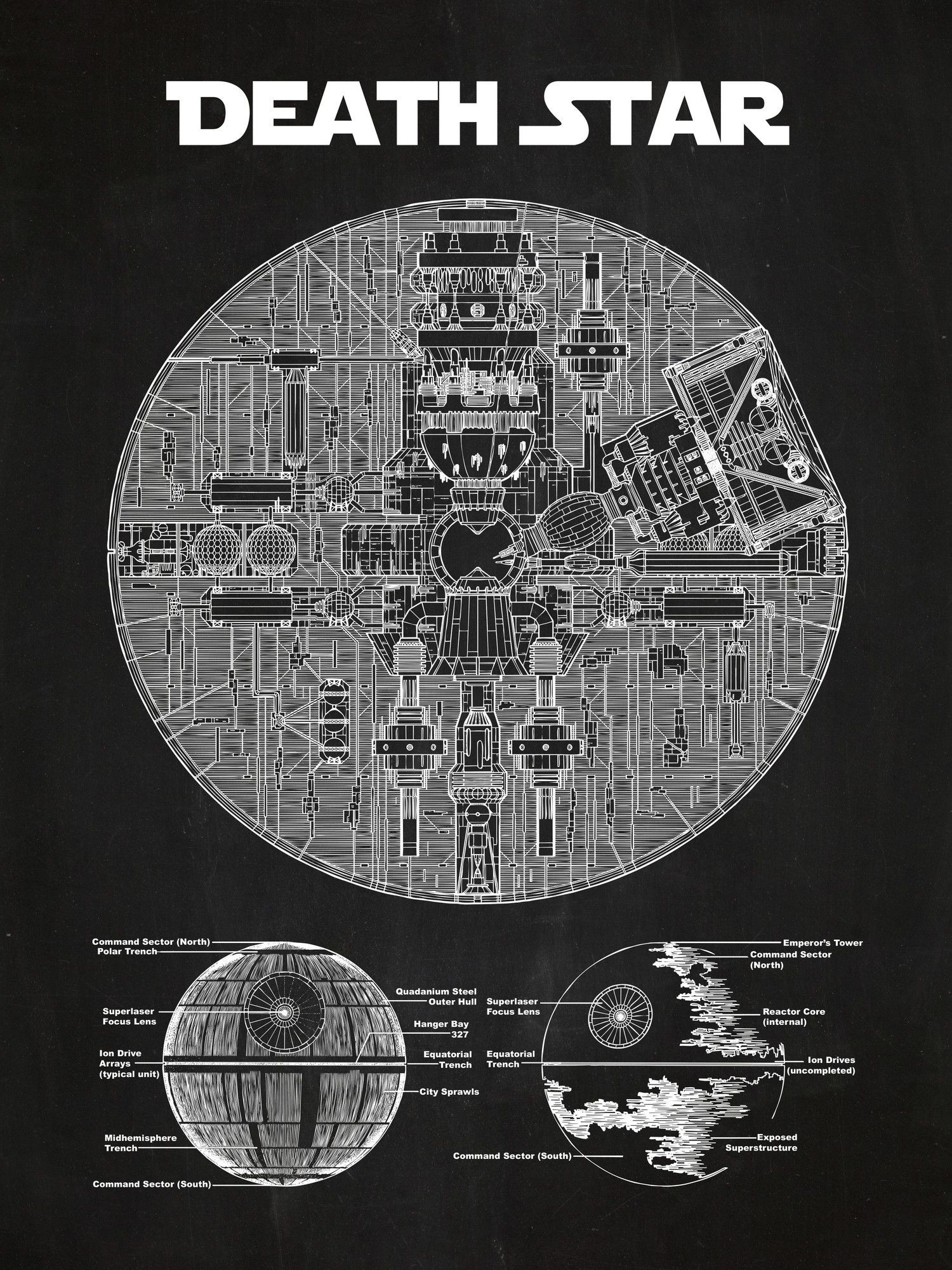 Star Wars Death Star Blueprint Graphic Art Poster in Chalkboard/White Ink …