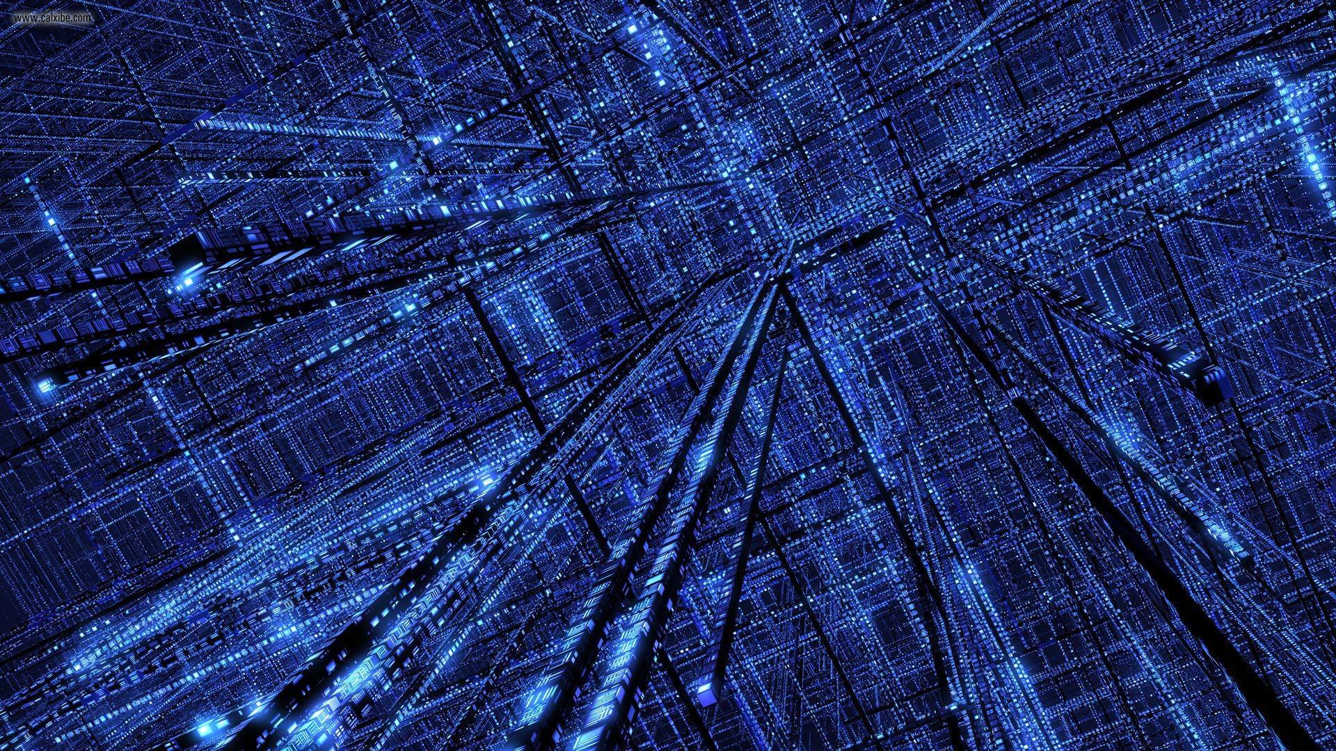 24076) Blue Matrix Background Wallpaper – WalOps.com