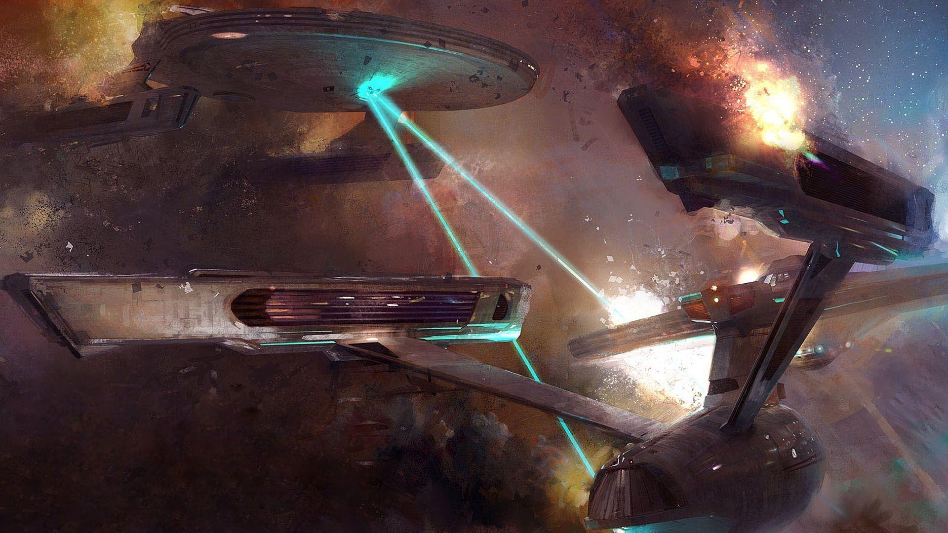 Starship combat – Star Trek HD Wallpaper 1920×1080