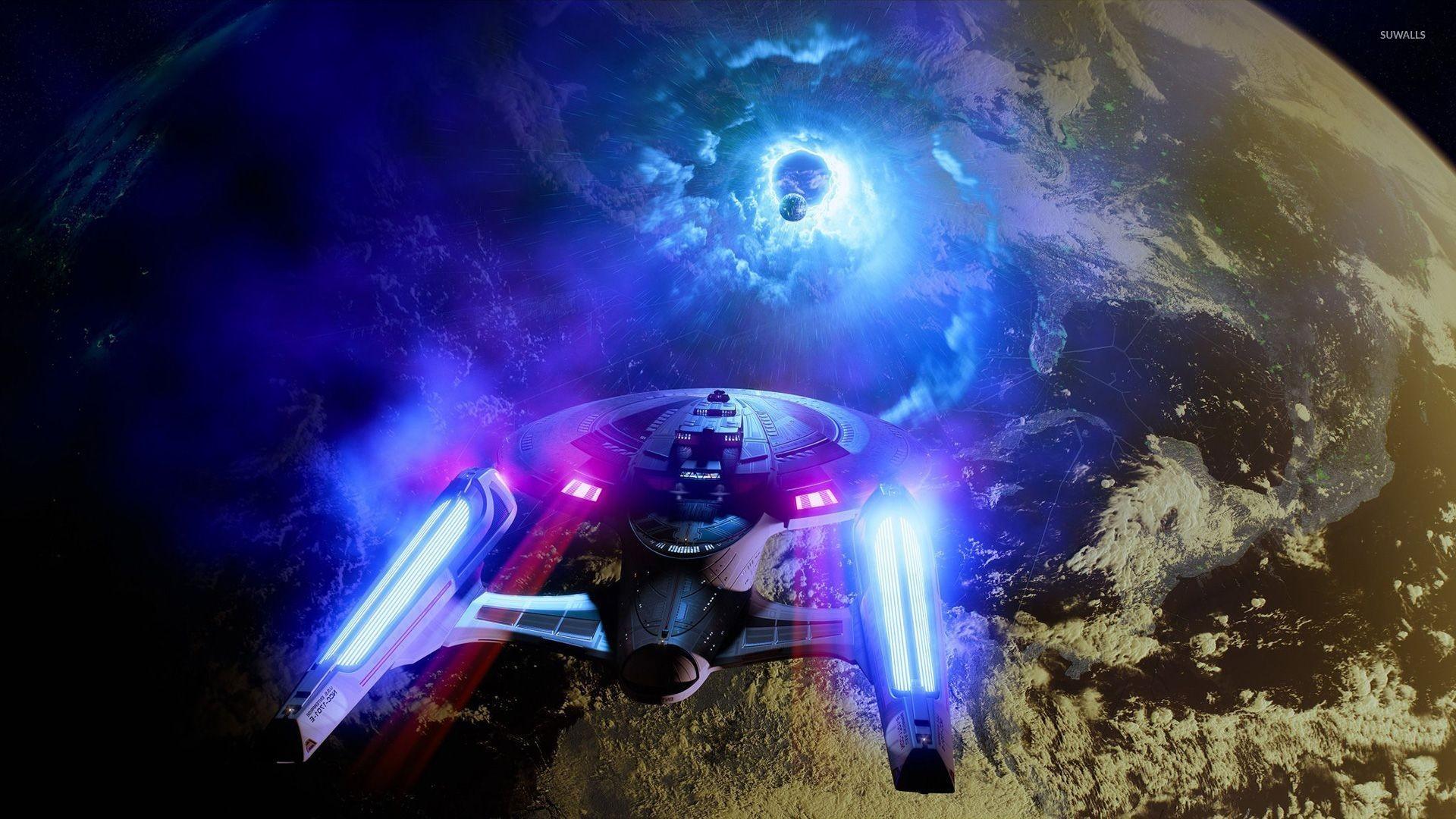 Star Trek spaceship. 1K. Starship Enterprise at warp wallpaper jpg