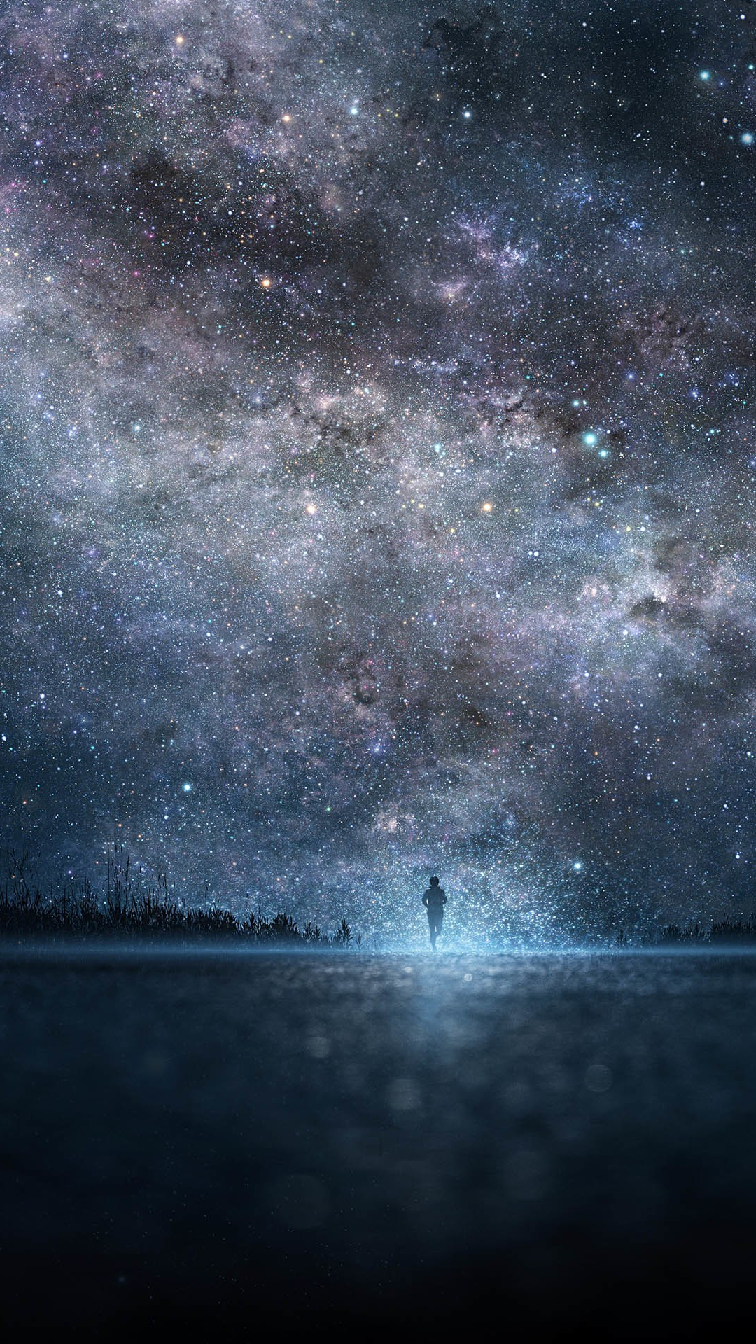 Amazing Shiny Starry Skyscape Lonely Man Shadow #iPhone #6 #plus #wallpaper