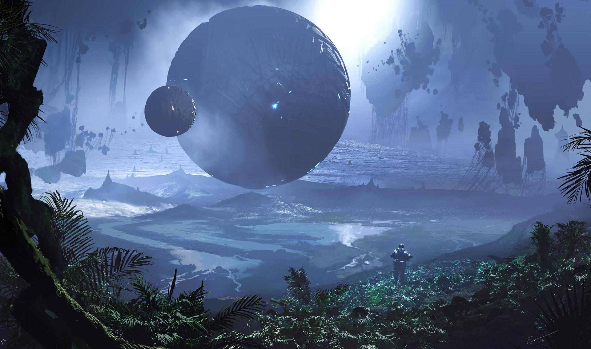 Sci Fi – Landscape Sphere Floating Island Wallpaper