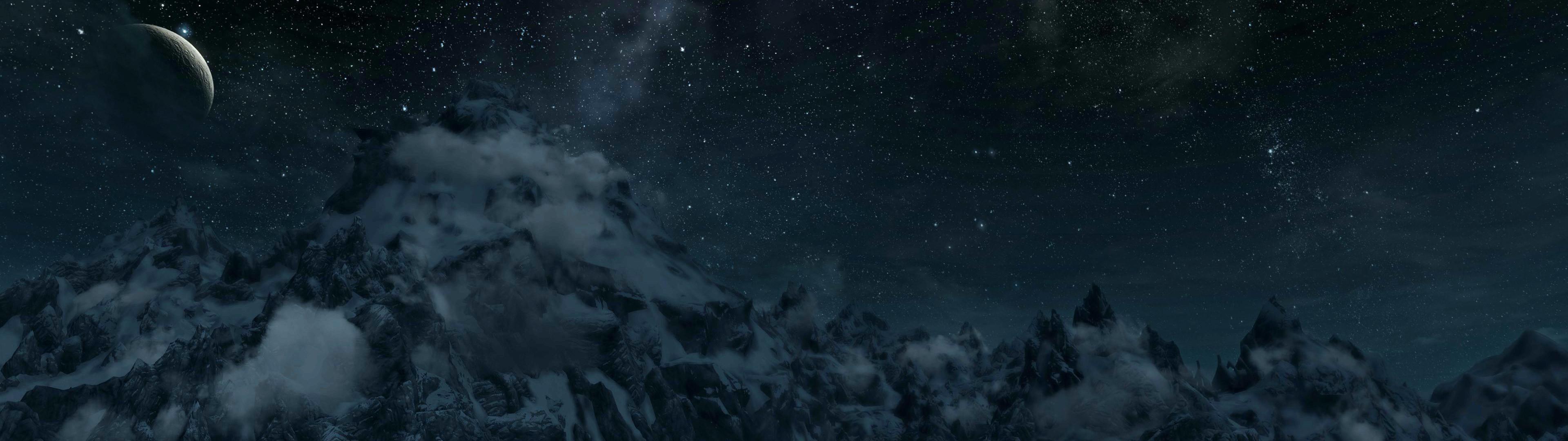 Skyrim mountain range panorama (dual screen wallpaper I made) [3840×1080]  …
