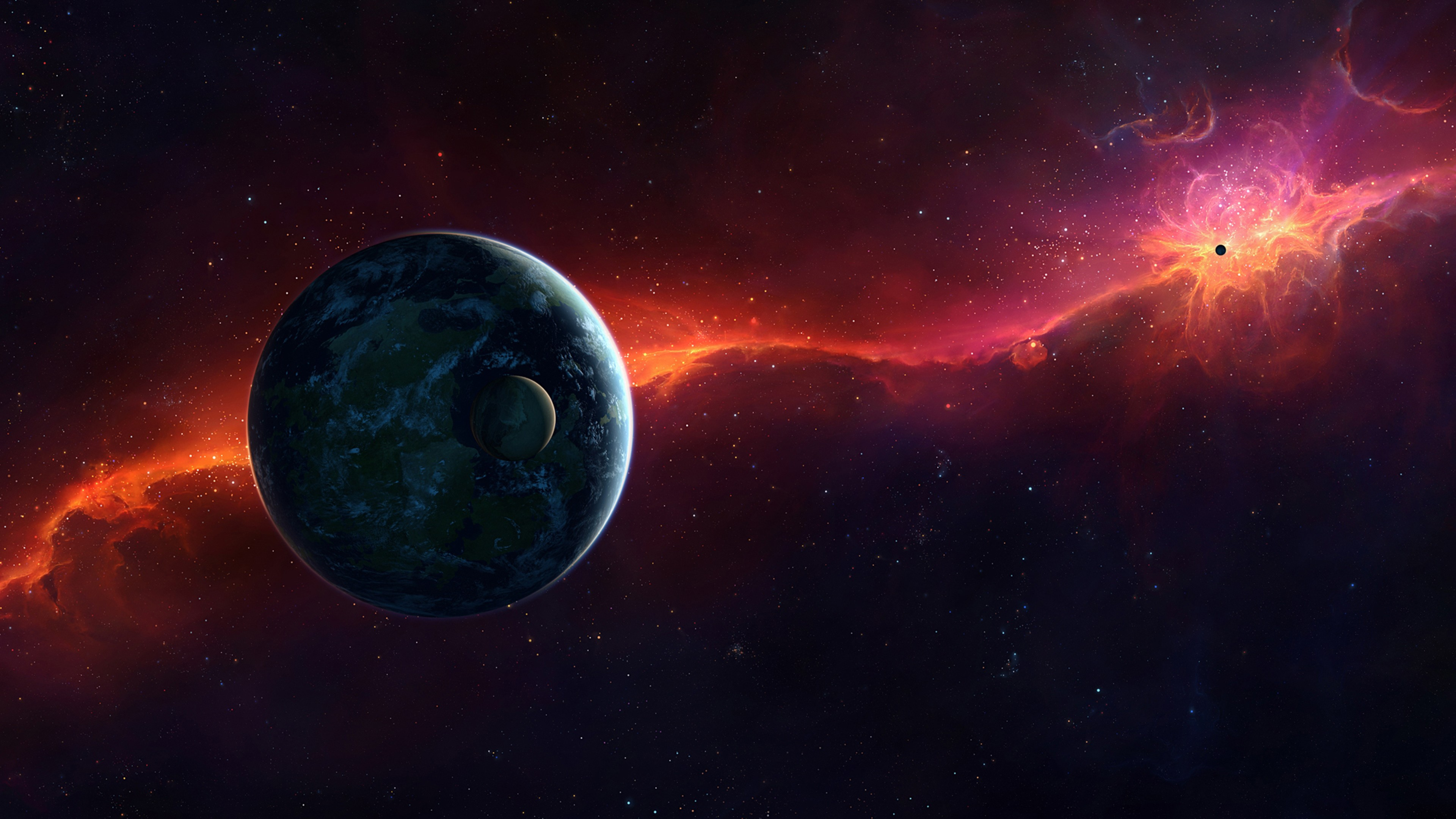 Preview wallpaper sci fi, space, red, planet 3840×2160