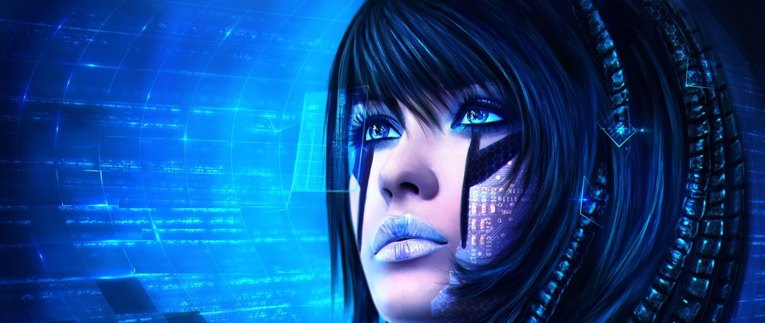 Preview wallpaper sci-fi, girl, face, art, technology 2560×1080