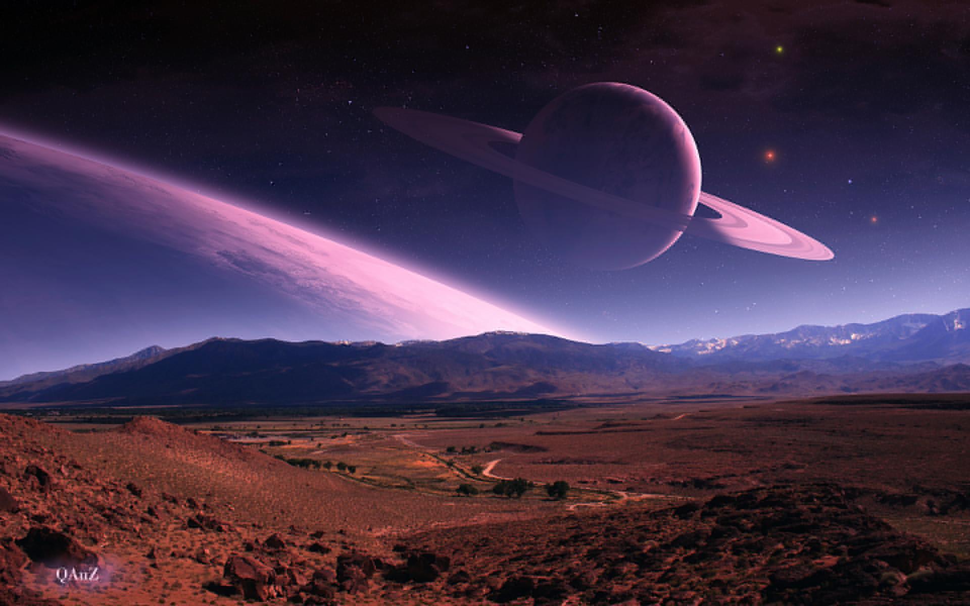 Quaz manipulation cg digital art nature landscapes fields hills mountains  planets scapes sky stars space sci fi science fiction wallpaper    …