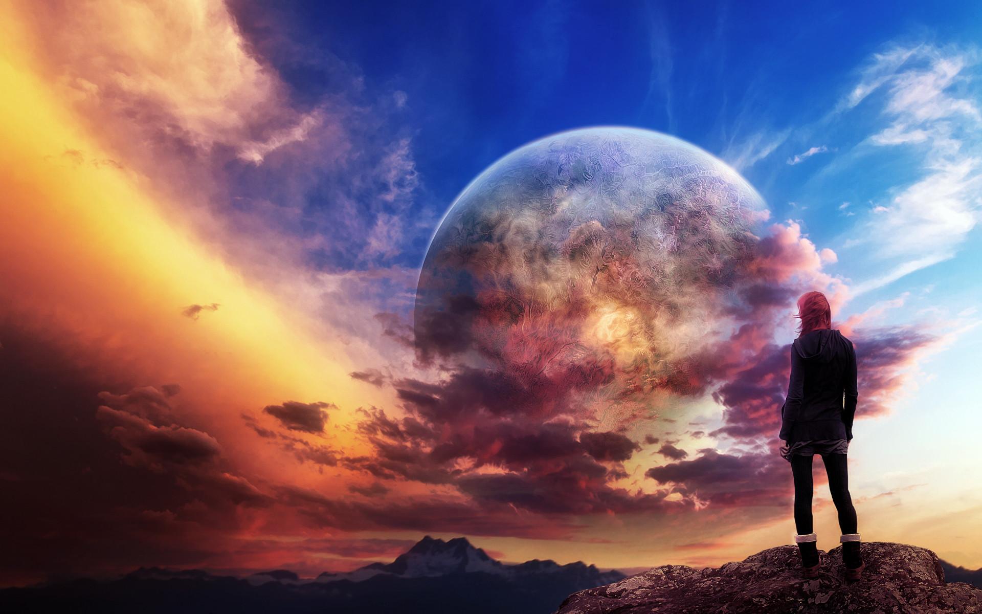 Fantasy dream sci fi Landscapes   Planet Redhead Clouds cgi digital art sci-fi  landscapes