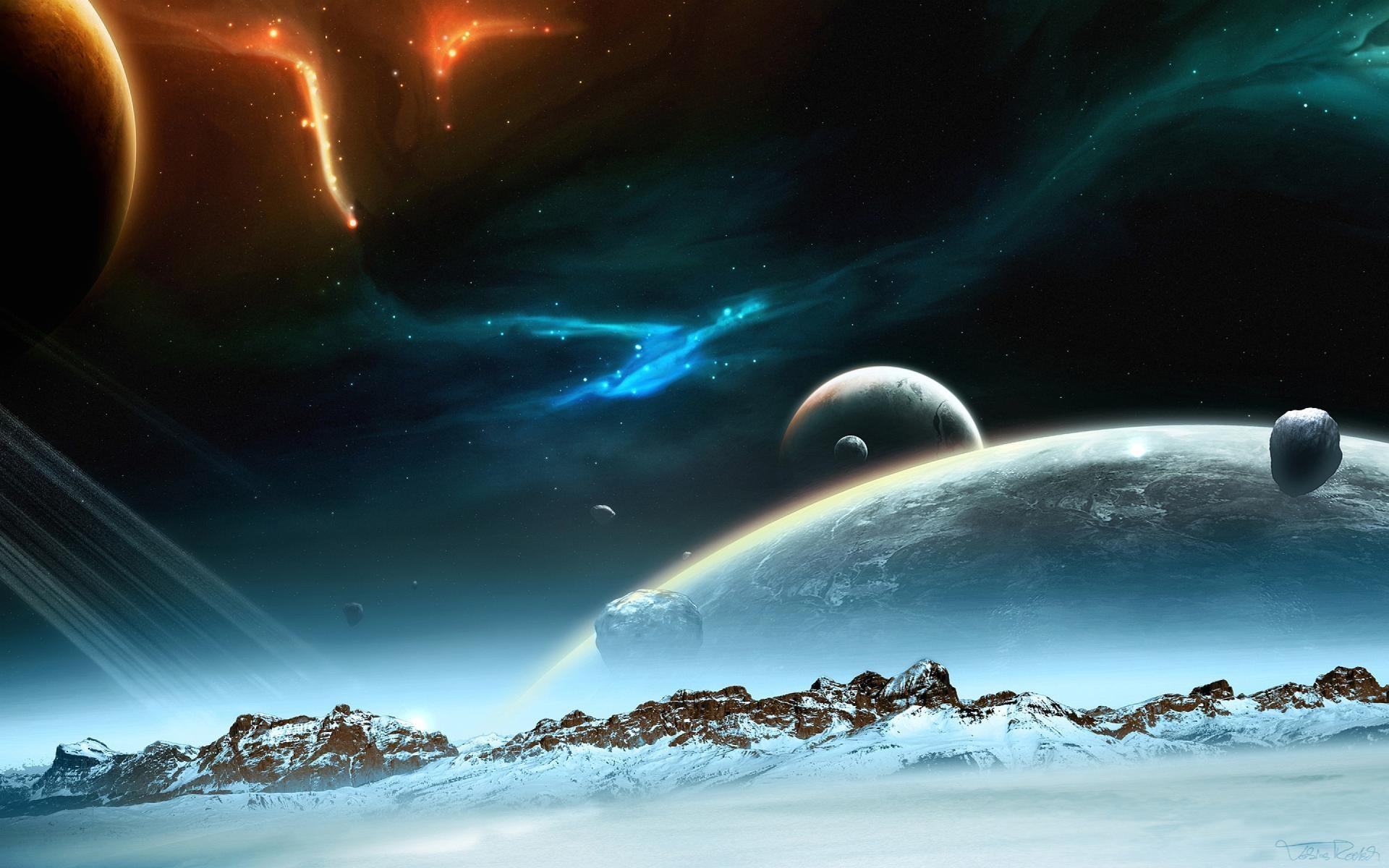 Wallpaper fantastic planet landscape · sci fi …
