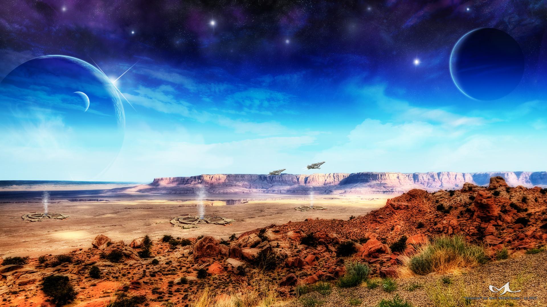 Sci Fi – Landscape Colonized Sci Fi Science Fiction Planet Spaceship Space  Wallpaper