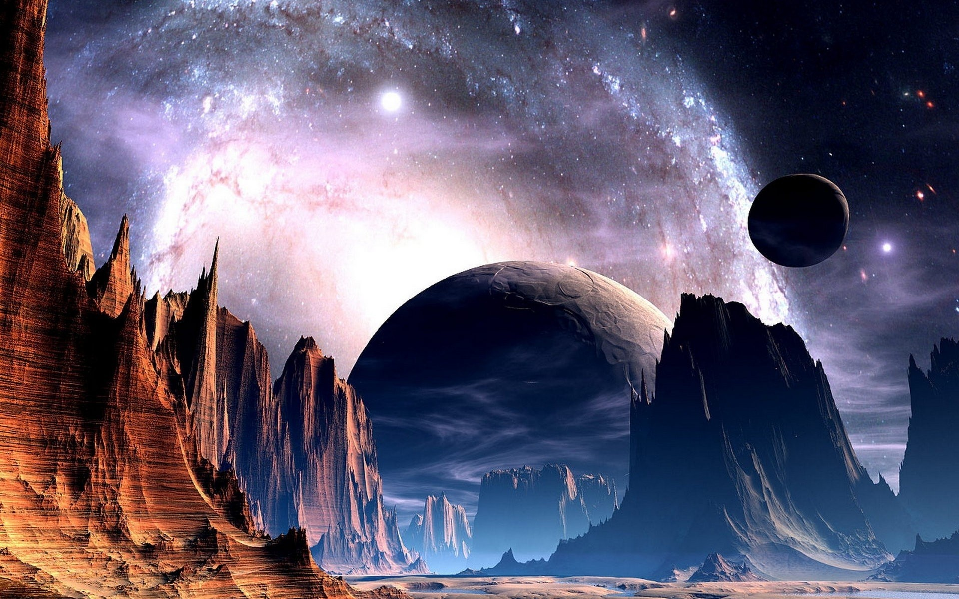 Sci fi science fiction planets alien sky stars nebula galaxy space universe  light bright nature landscapes mountains cliff valley spire art artistic …
