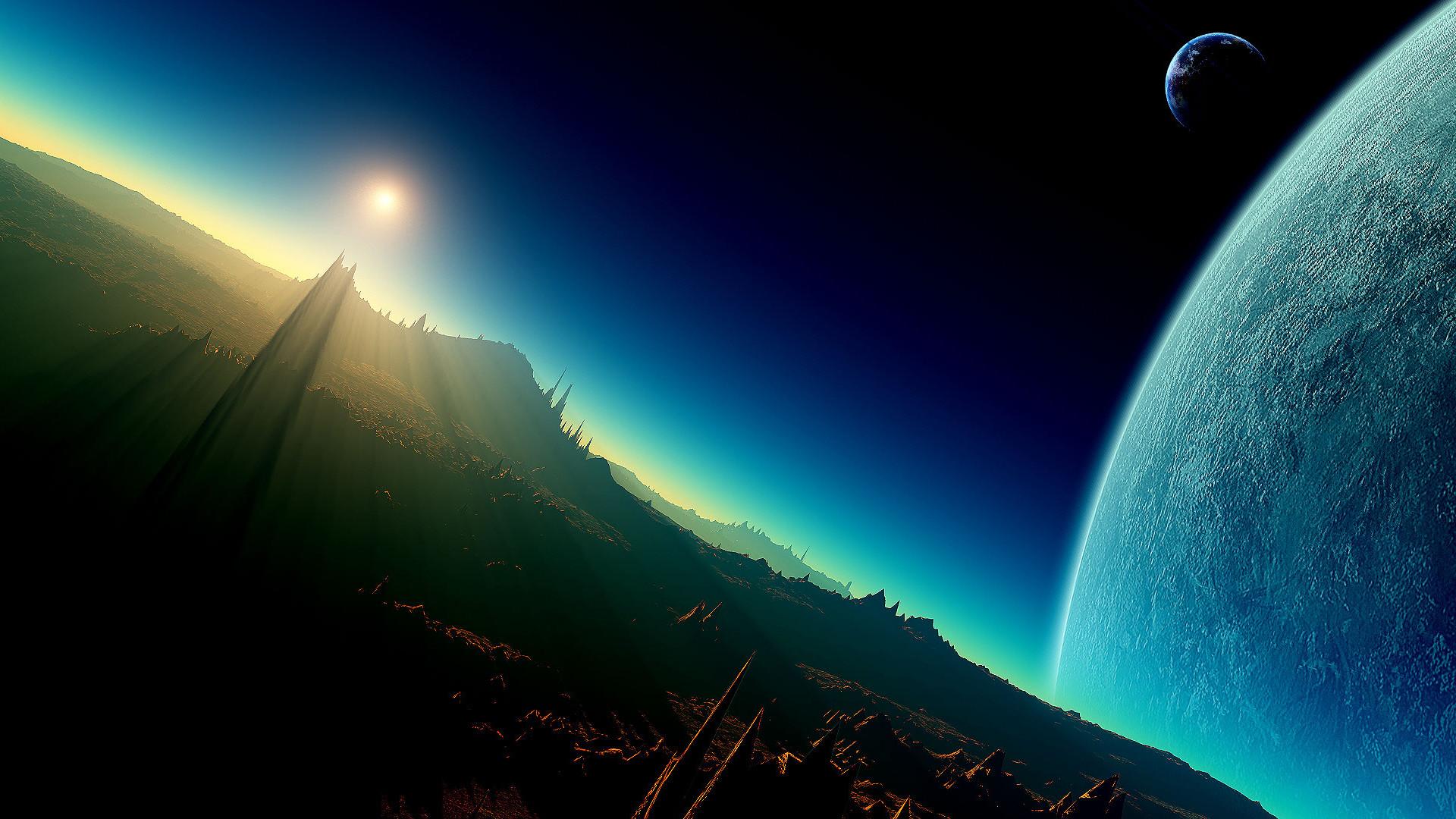 Sci Fi Planet Rising Desktop Wallpaper