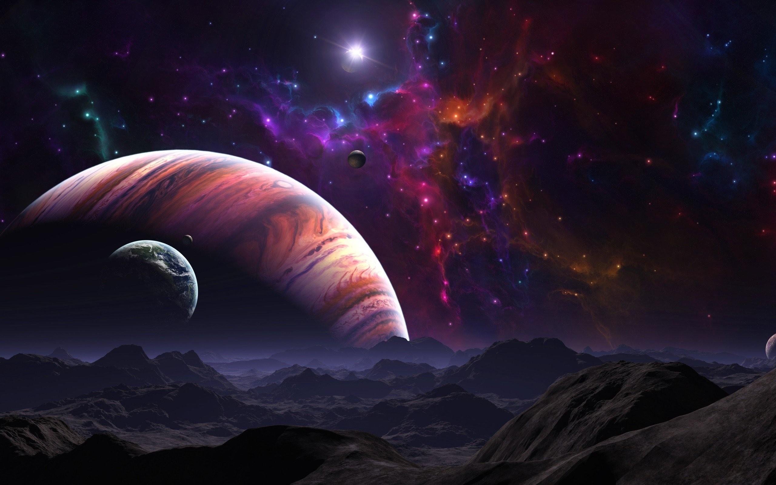 Landscapes Planets Science Fiction Fantasy Art Artwork Stars Space Nebulae  …