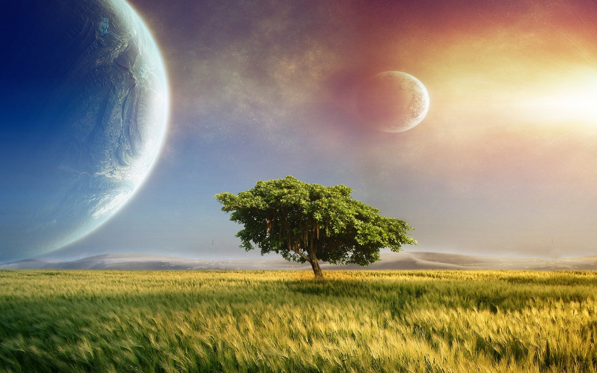 Fantasy art cg digital landscapes fields grass trees sky sunset sunrise sci  fi science planets moons wallpaper     32740   WallpaperUP