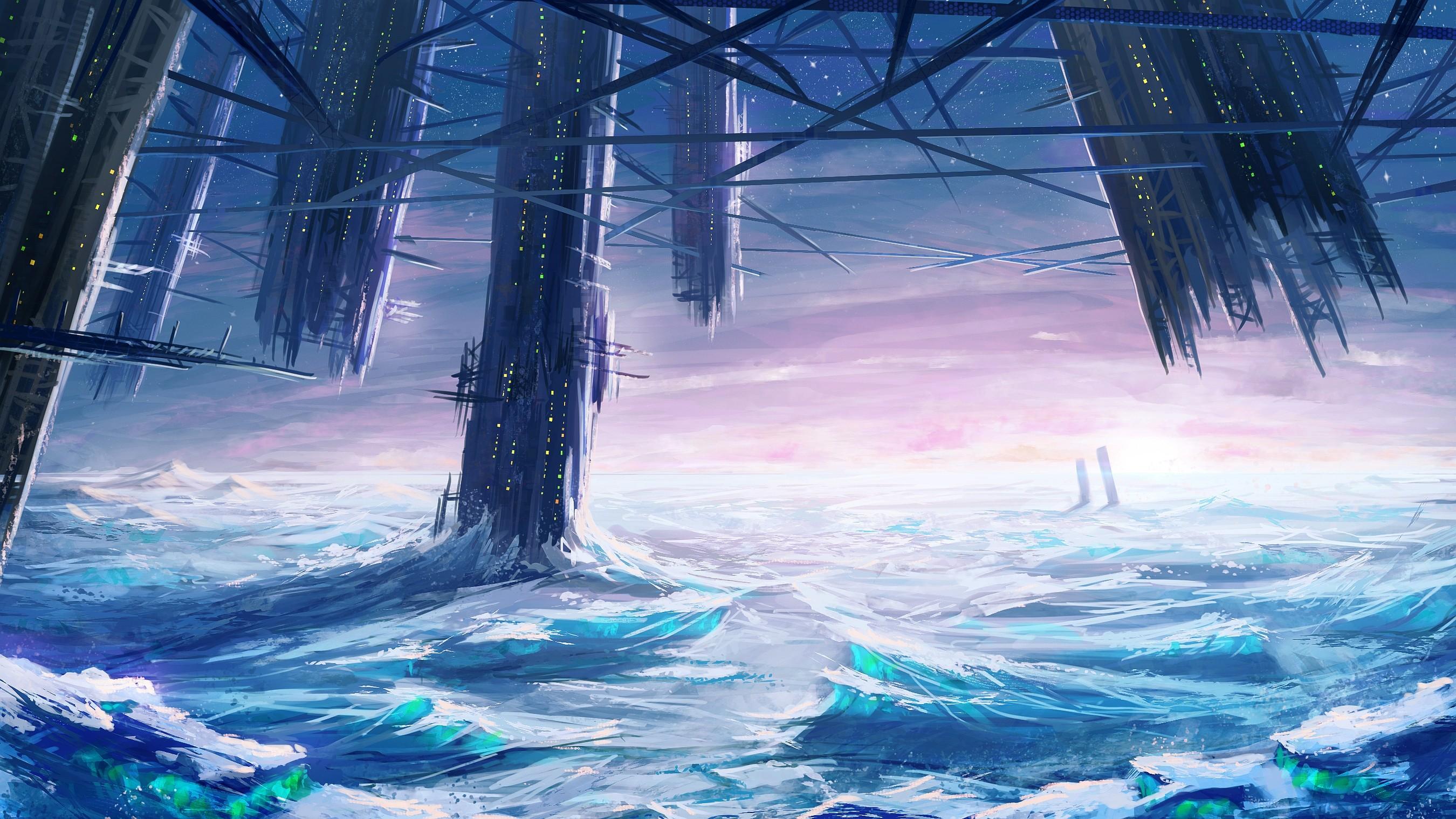 Ice Castle Sci-Fi Landscape [2700 x 1519] …