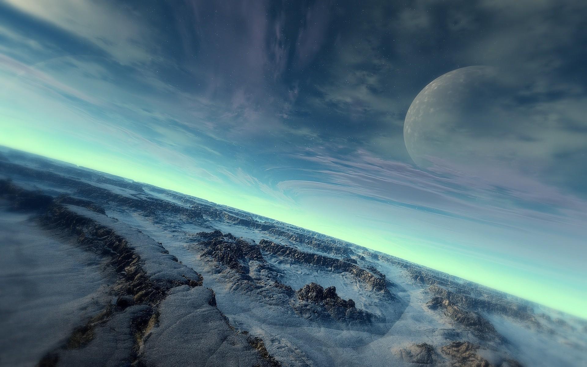 Space 3d art planet landscape moon fantasy wallpaper     147080    WallpaperUP