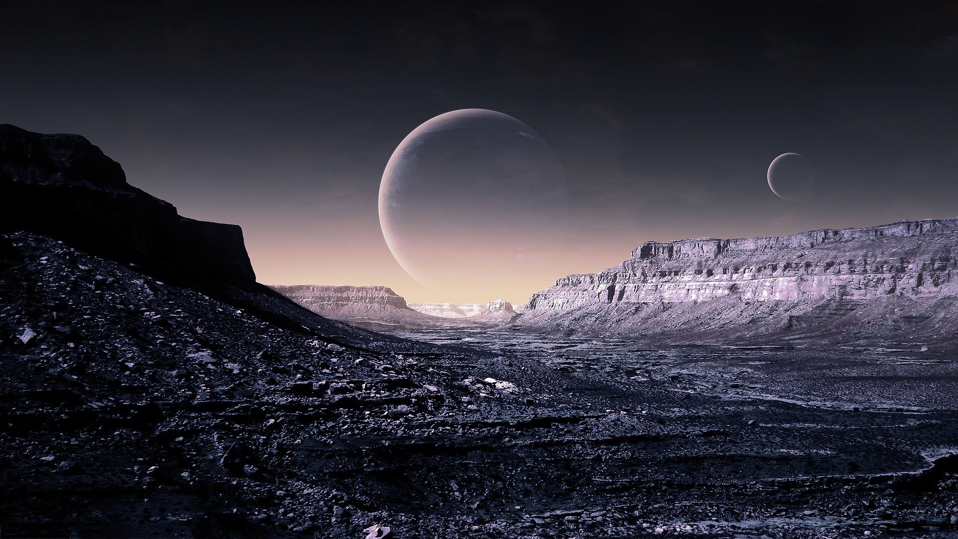Fantasy futuristic planets surface spacescape science fiction wallpaper      200716   WallpaperUP