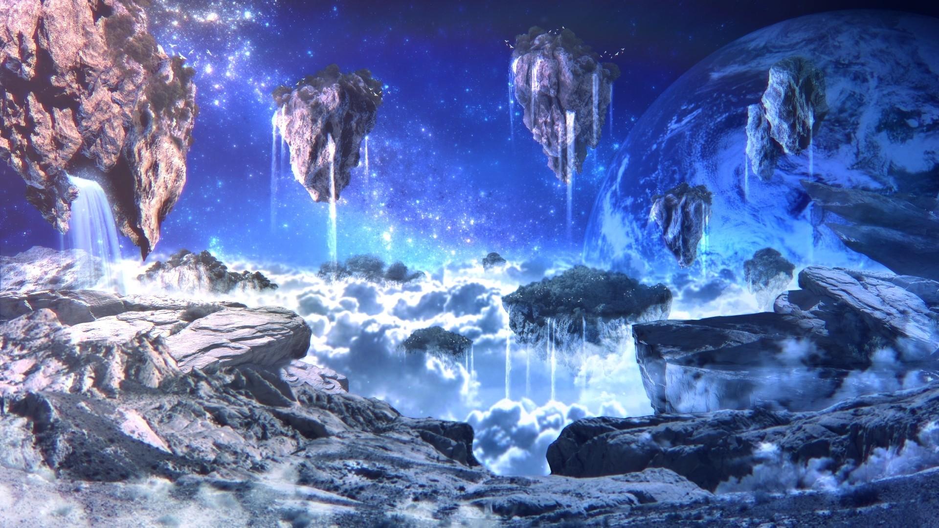 – sci-fi, landscape, floating islands, planet, rocks, waterfalls