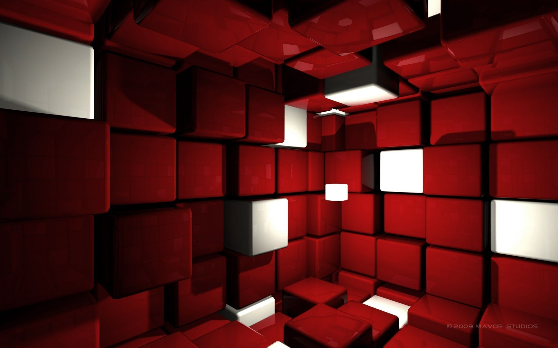 Room with Red Cubes