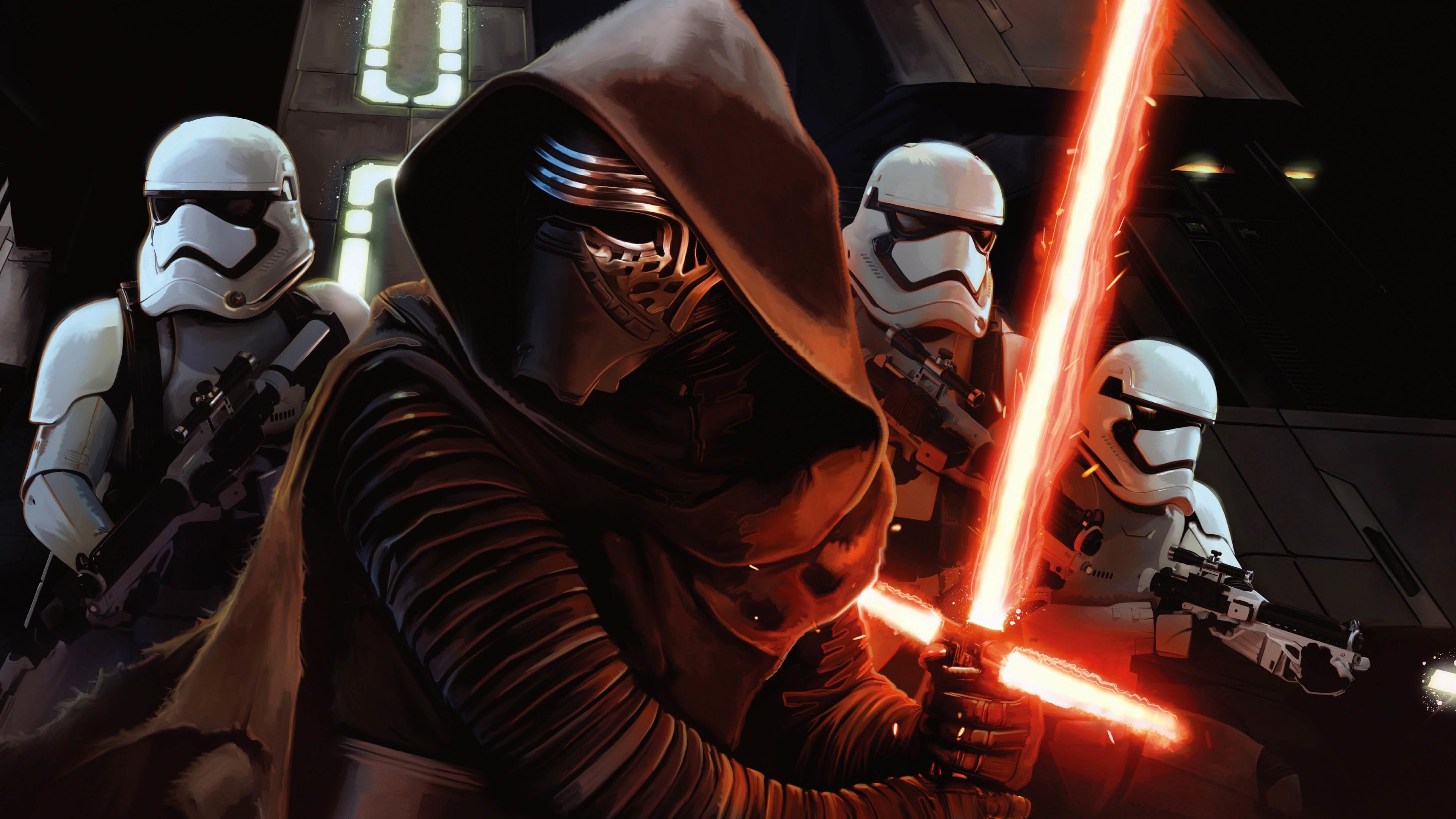 Kylo Ren & Stormtroopers – Star Wars: The Force Awakens wallpaper