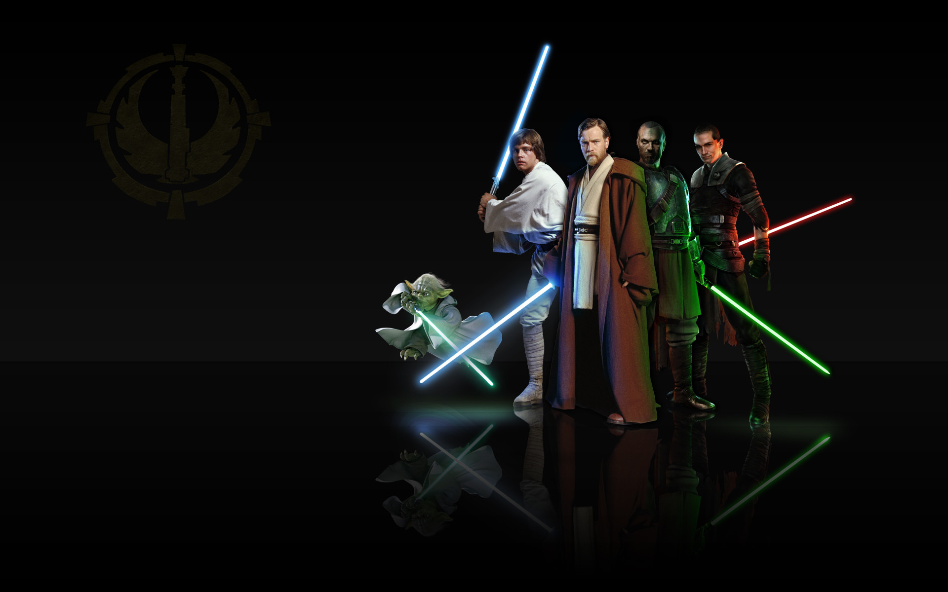 Quick Wallpaper during my break, of my favorite Jedi's. Can't really find  any cool wallpaper of Star Wars, so if you have a large sc.