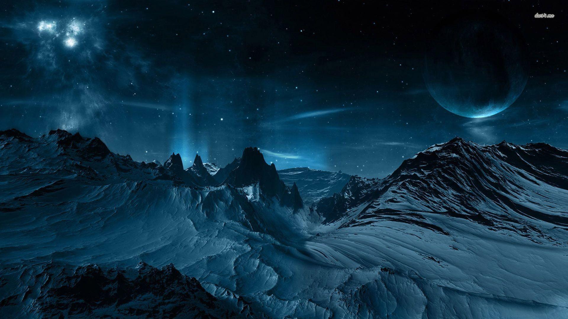 Night sky, mountain, snow, star, moon, fantasy, HD .