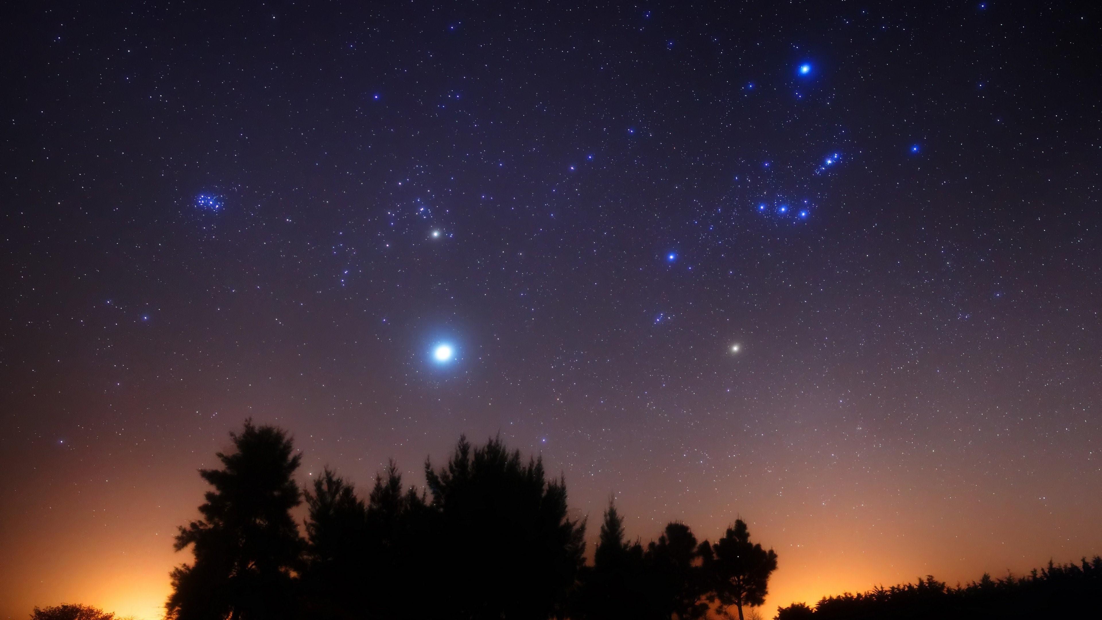 Title. Stars shining on the night sky