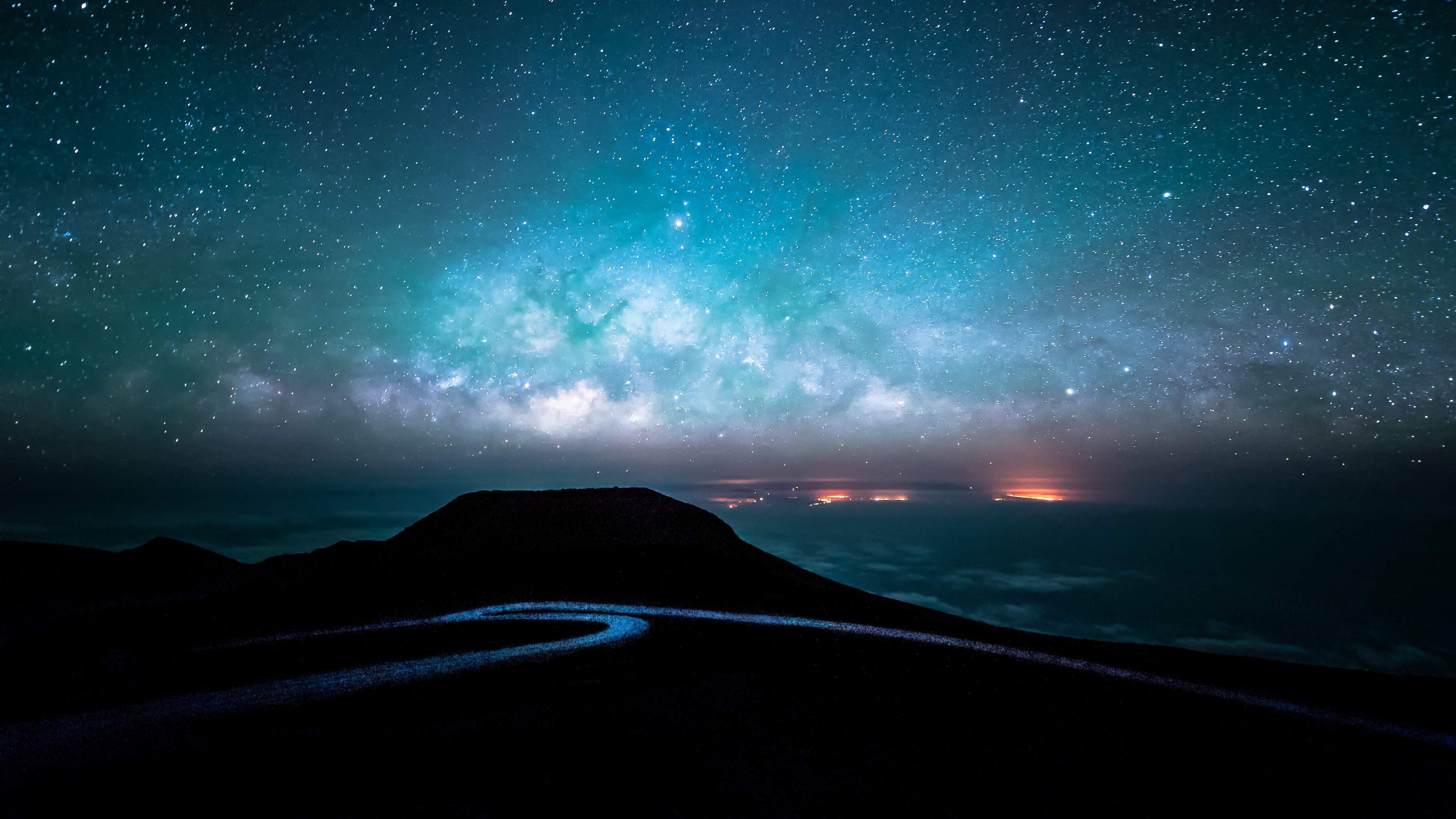 night road and starry sky 4k ultra hd wallpaper